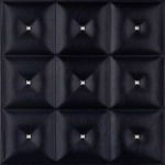 DCT LRT19 Faux Leather Ceiling Tile - Black Diamond with Crystals
