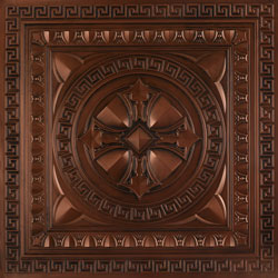 Embossed 3D panel in Antique Copper for ceilings or walls made out of PVC.