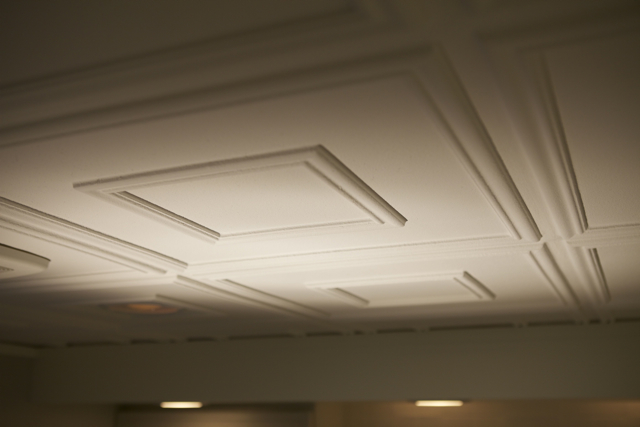 Close up of our 208 white matte ceiling tiles from massive and modern episode of bath crashers.