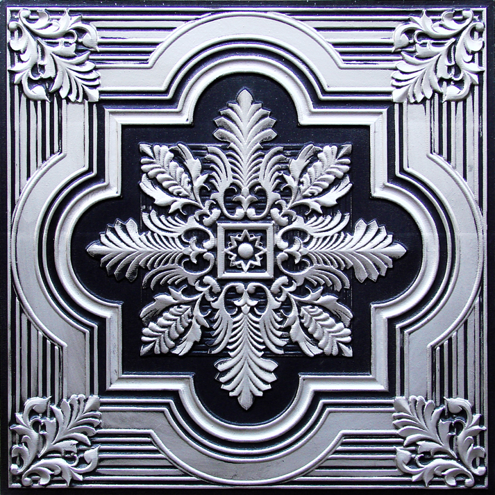 Fancy Snowflake Faux Tin Ceiling Tile in Antique Silver