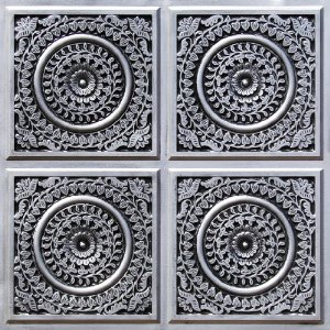 117 Grandma's Doilies Quartet Faux Tin Ceiling Tiles for GreenRose Fine Homes and Decorative Ceiling Tiles