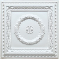 Decorative ceiling tile Laurel Wreath in white pearl finish.