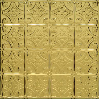0604 Princess Victoria in Polished Brass is a metal panel that can be used on walls or ceilings. Comies in 75 finishes.