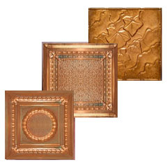 A collage of images that leads to the category page where you will find new solid copper and aged solid copper ceiling tiles.