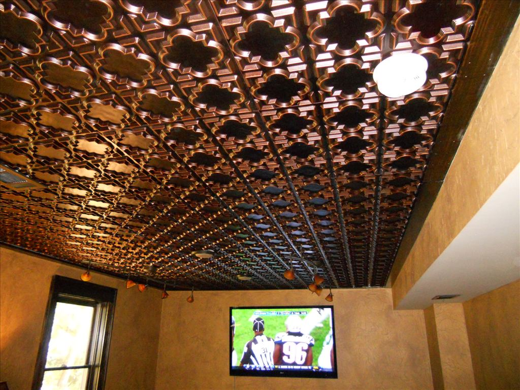 142 Antique Copper Faux Tin Ceiling Tile installed in a mancave.