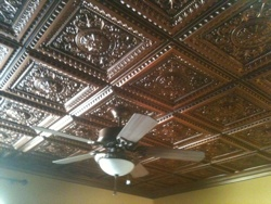 Antique ceiling in a guest room made of Faux Copper ceiling tiles 223.