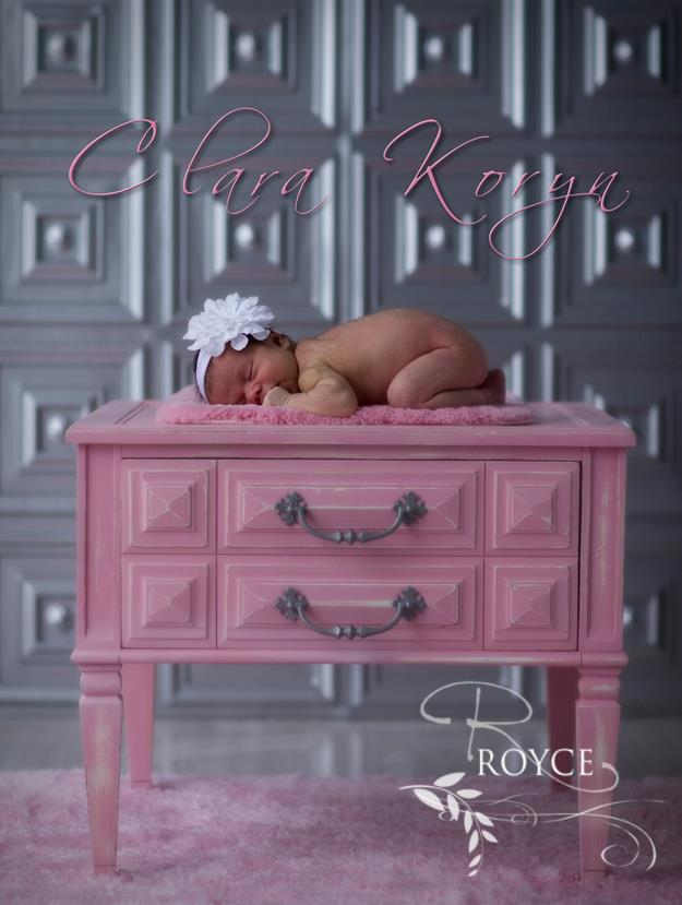 baby girl on a pink table by royce chenore and with our photography backdrop