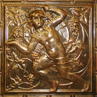 2484 Aluminum Ceiling Tile with a design with a Cherub and Wine Grapes in Autumn Bronze and many other finishes is available at www.decorativeceilingtiles.net