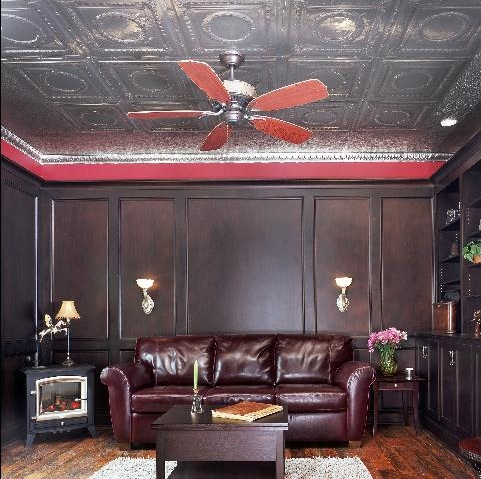 Dark wood and Tin Ceiling
