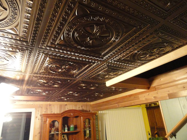 Man Cave with DCT 01 Faux Tin Drop In Ceiling Tiles 24x24