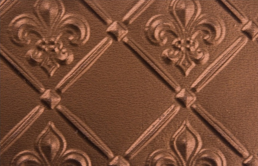 faux tin backsplash roll wc 80 copper Fleur de lis. Image taken is of a 6x4 piece of the product.