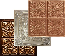 Three decorative glue up ceiling tiles in copper, antique white and antique gold.