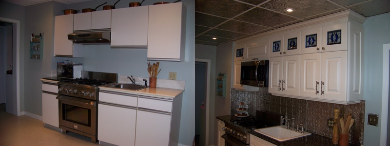 Demonstration of what new metal backsplash and ceiling can do for a kitchen.