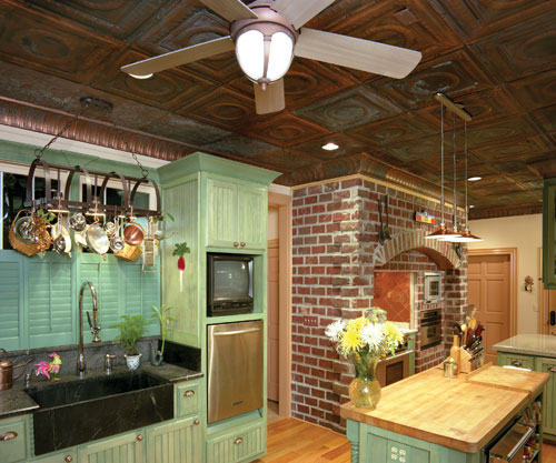 Kitcen with classic romaneque solid aged copper ceiling tiles and cornices