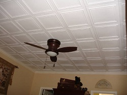R 24 Classic looking styrofoam ceiling tile painted white and installed in Boca Raton Florida.