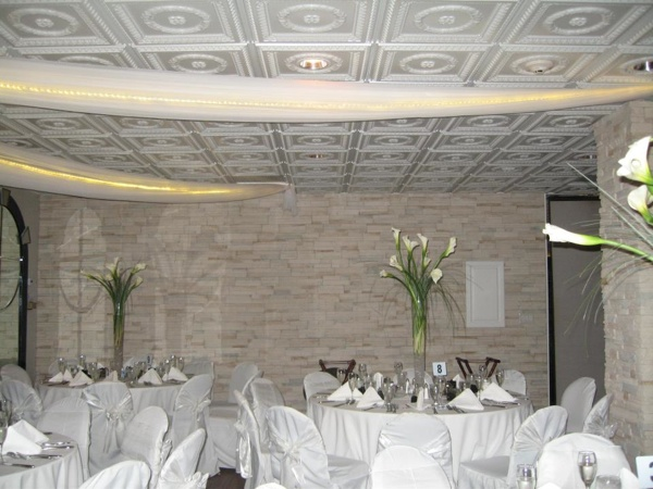 White pearl ceiling in a Royal Fiesta Catering Hall in Deerfield Beach Florida.