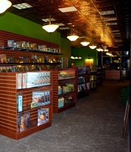 Family friendly game store in Ithaca, New York with Faux Copper ceiling tiles.