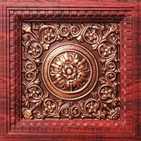 Beautiful coffered rosewood ceiling tile with antique copper insert.