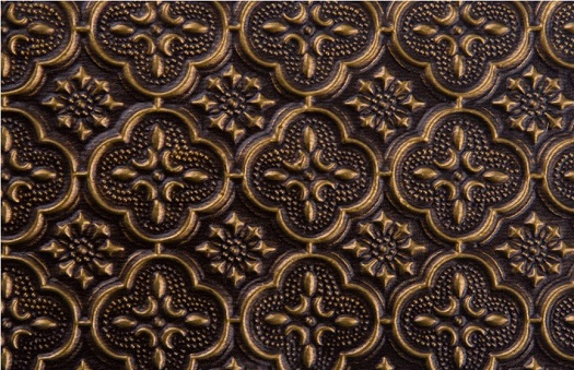 WC 20 Faux Tin Backsplash Antique Brass.  Image is taken of 6 inches wide and 6 inches high piece of the product.