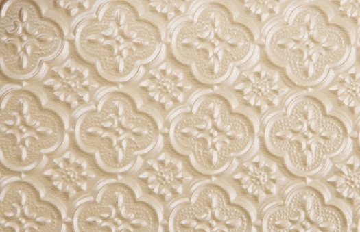 WC 20 Faux Tin Backsplash - Cream Pearl is made out of PVC and comes as a roll.  The image is taken of a piece of the product that is 6x4 inches.