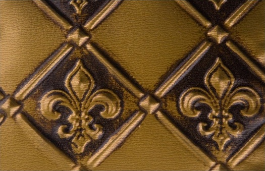 wc 80 faux tin backsplash, fleur de lis pattern in antique brass.  The iamge is take of a 6x4 inch piece.