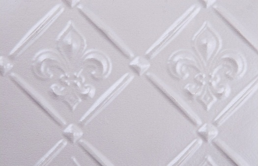 wc80-faux-tin-backspash, pattern fleur de lis in white pearl. Image represents 6x4 inches of the actual product.