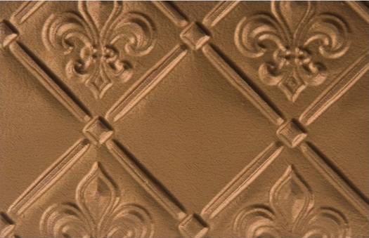 wc80-faux-tin-backspash, pattern fleur de lis in gold. Image represents 6x4 inches of the actual product.