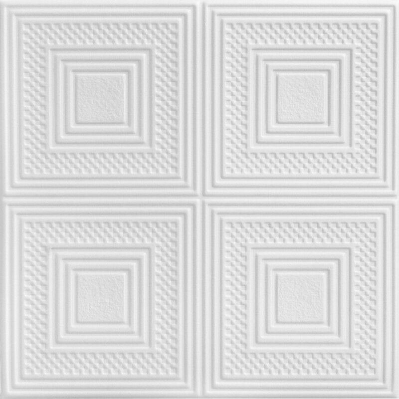 Nested Squares Glue-up Styrofoam Ceiling Tile 20 in x 20 in - #R11