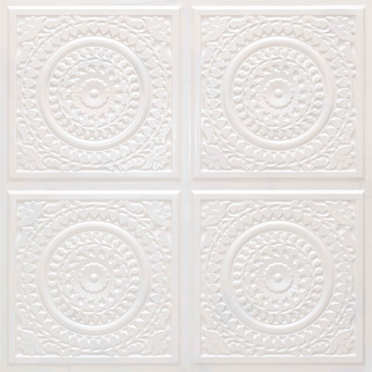 Grandma's Doilies Quartet  Faux Tin Ceiling Tile Glue up 24 in x 24 in - #117