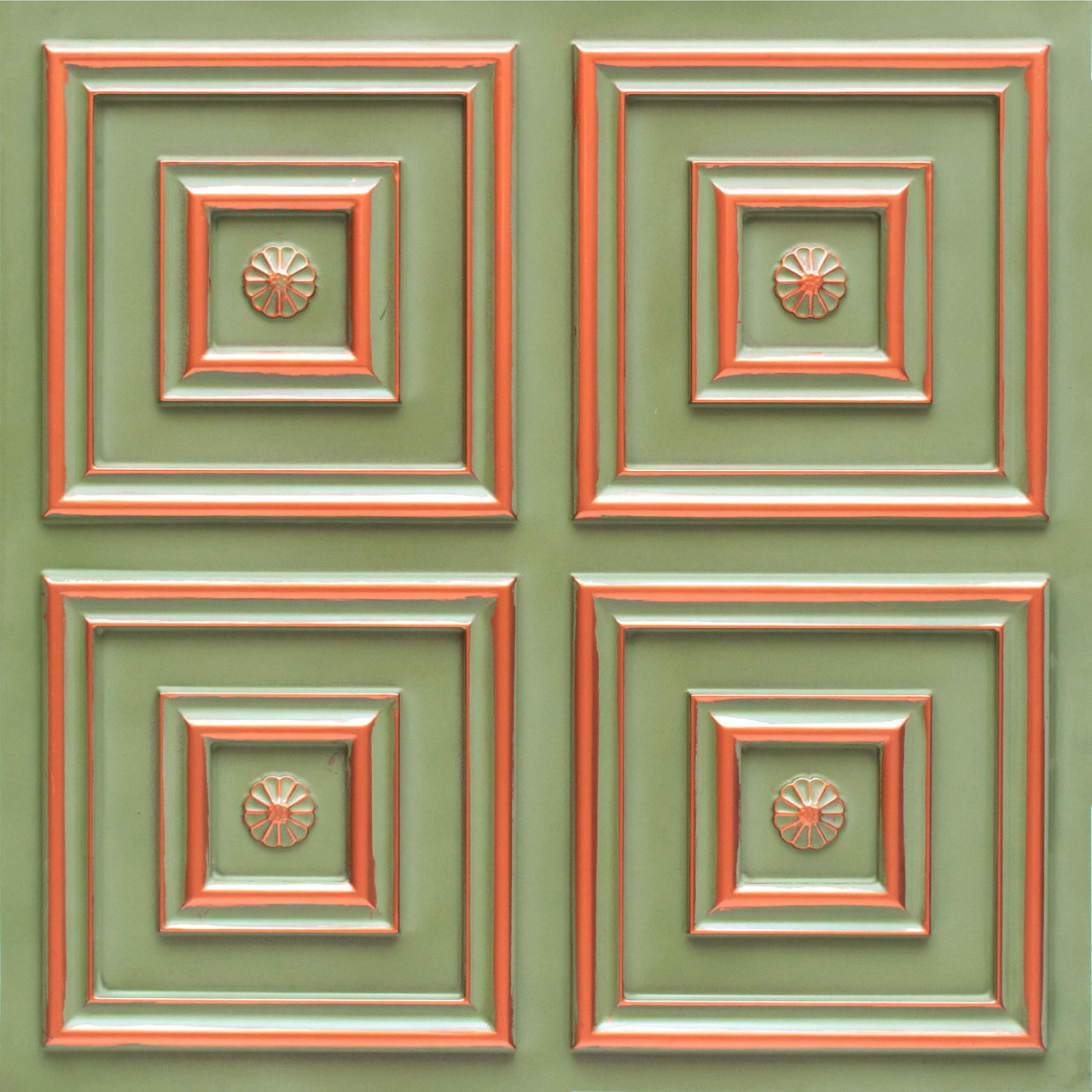 Deco Seashore - Faux Tin Ceiling Tile - Glue up - 24 in x 24 in - #112