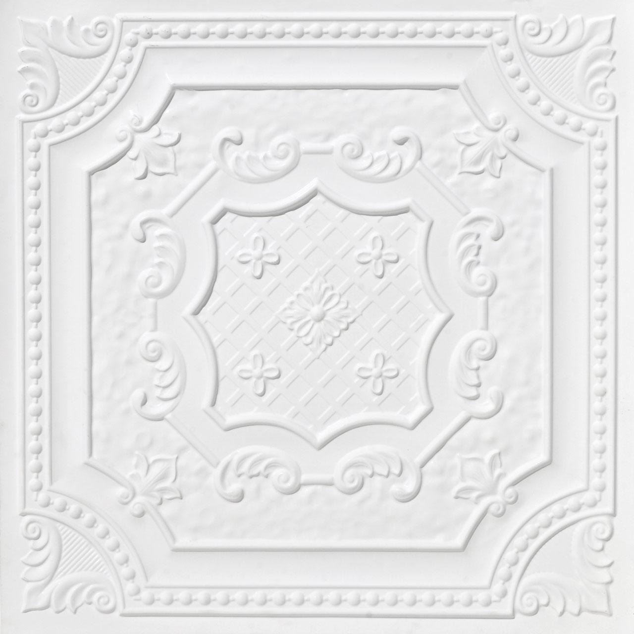 Elizabethan Shield - Faux Tin Ceiling Tile - 24 in x 24 in - #DCT 04
