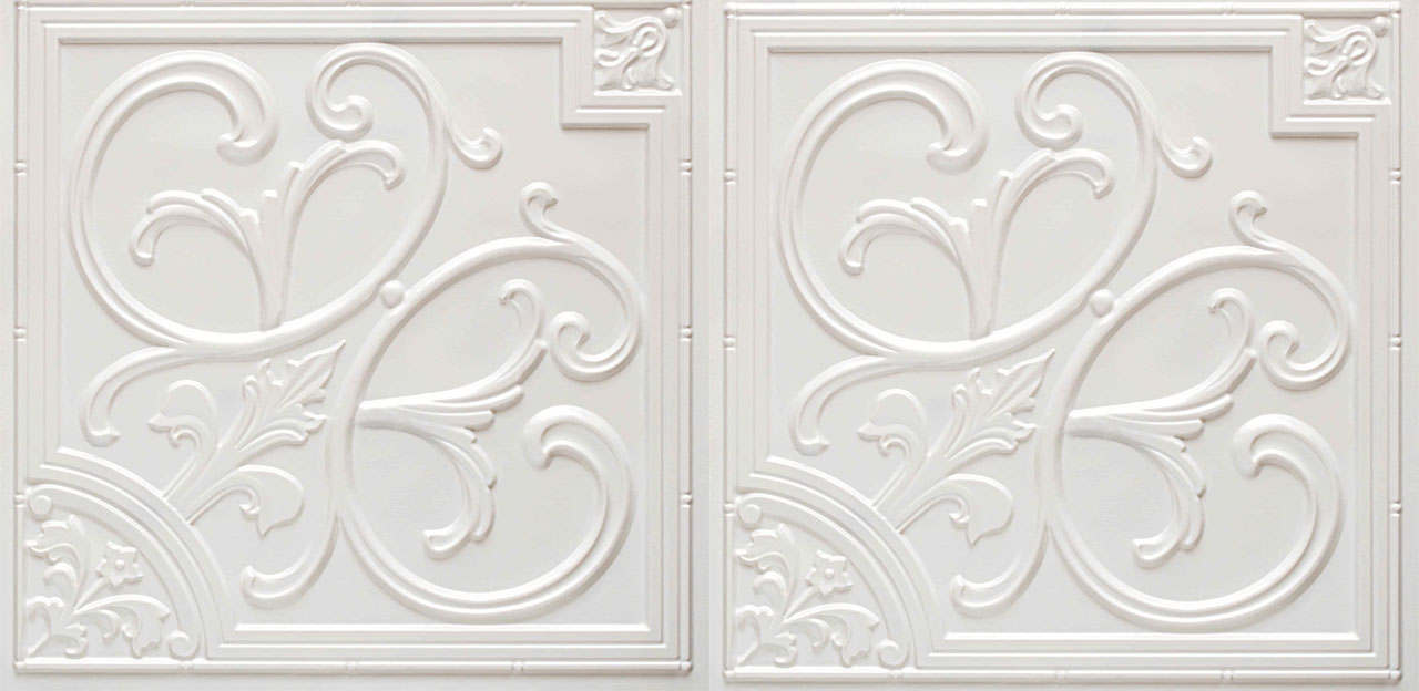 Lilies and Swirls - Faux Tin Ceiling Tile - 24 in x 24 in - #204