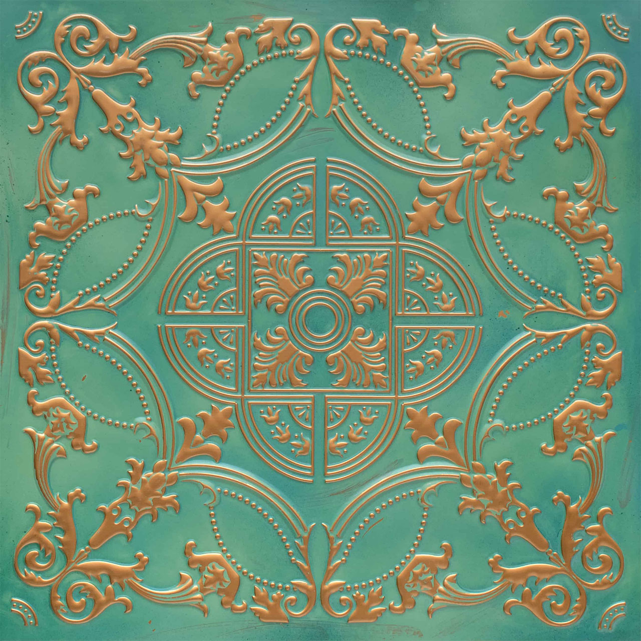 Golden Prague - Faux Tin Ceiling Tile - Glue up - 24 in x 24 in - #218