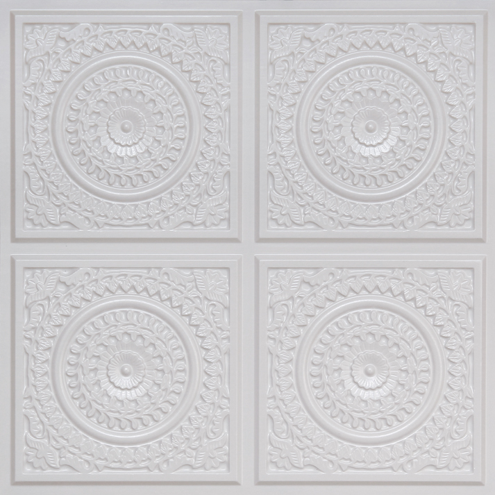 Grandma's Doilies Quartet  Faux Tin Ceiling Tile Glue up 24 in x 24 in - #117
