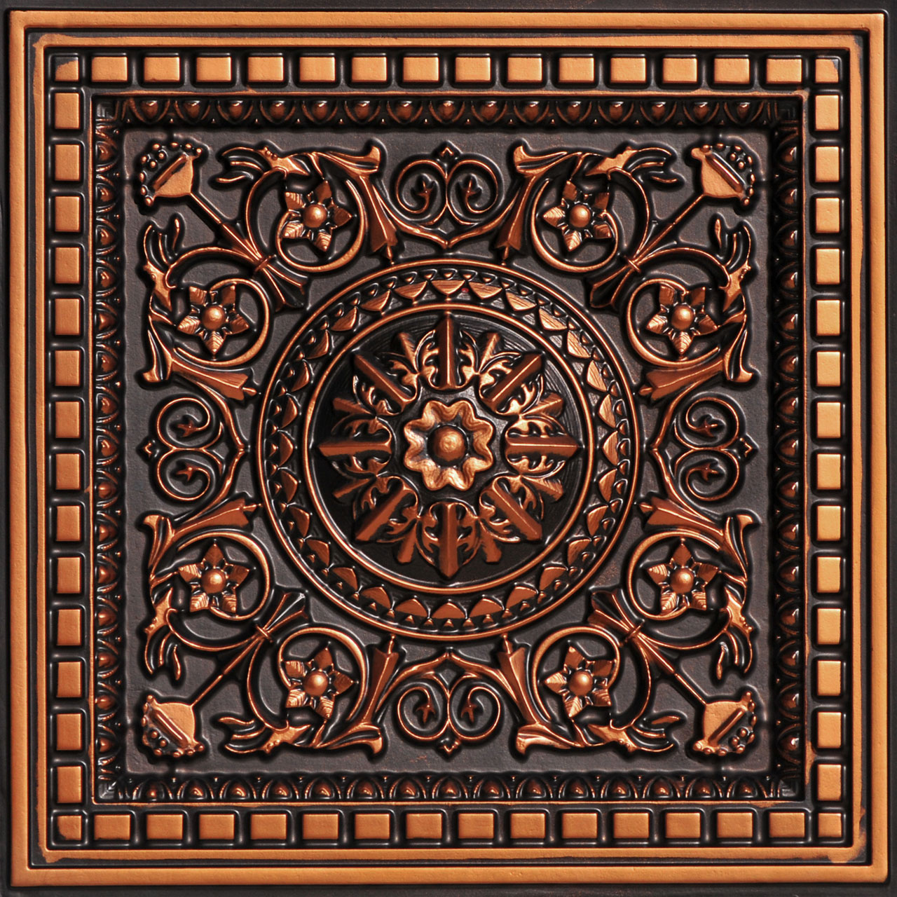 Da Vinci - Faux Tin - Coffered Ceiling Tile - Drop in - 24 in x 24 in - #215
