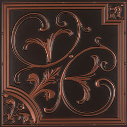 Faux Tin Panel 204 in Antique Copper that can be used for walls or ceilings.