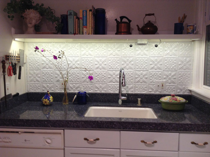 Flower Power – Aluminum Backsplash Tile – #0612 - Polar White