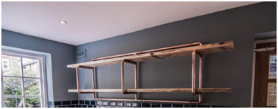 Shelves with Copper Pipes