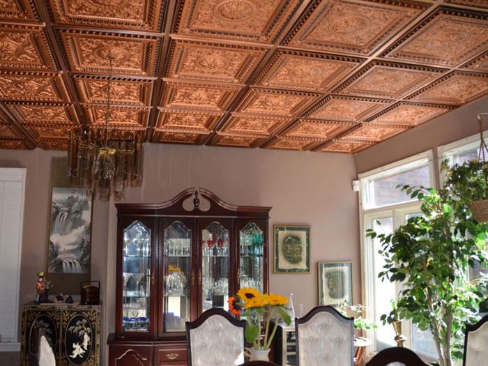 La Scala Faux Tin Ceiling Tile #223- Antique Copper with Copper