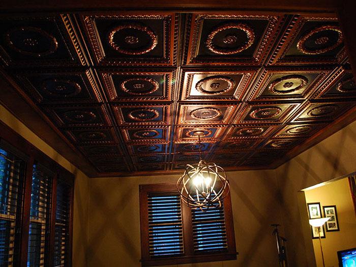 Laurel Wreath Faux Tin Ceiling Tile #210 - Antique Copper