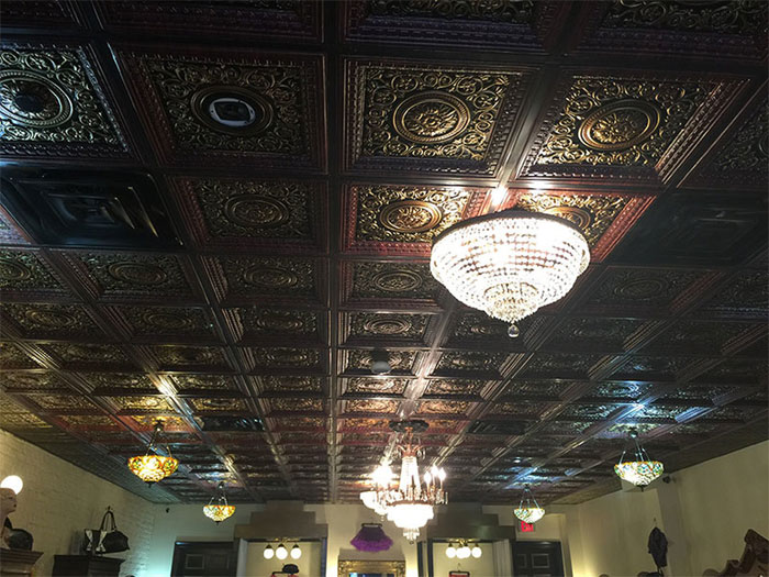 Rhine Valley - Faux Tin - Coffered Ceiling Tiles - Drop In - 24 in x 24 in - #VC 02 - Antique Copper