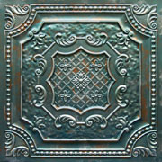 Elizabethan Shield Faux Tin Ceiling Tile DCT04 Patina