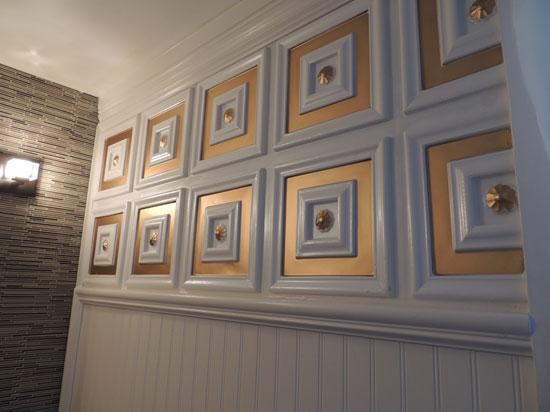 Deco Seashore - Faux Tin Ceiling Tile - Glue Up - 24x24 - #112 - White Pearl Gold