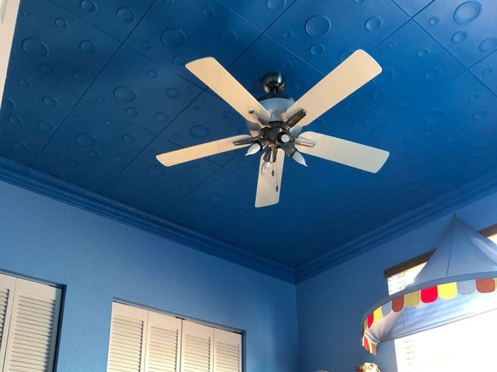Bruno – Styrofoam Ceiling Tile – 20 in x 20 in – #R115 - Custom Blue