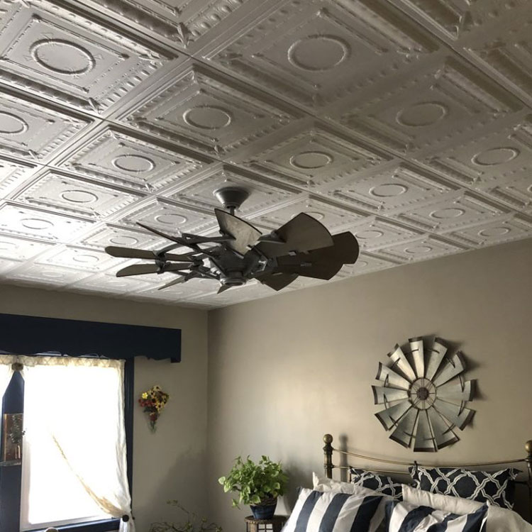 Romanesque Wreath Glue-up Styrofoam Ceiling Tile 20 in x 20 in – #R 47 - Plain White