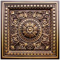 """Da Vinci - Faux Tin Ceiling Tile - Drop in - 24""""x24"""" - #215 - Antique Gold"""