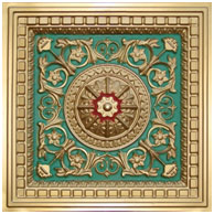 "Da Vinci - Faux Tin Ceiling Tile - Drop in - 24""x24"" - #215 - Gold & Green & Red"