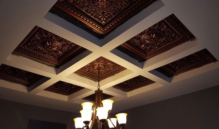 """Da Vinci - Faux Tin Ceiling Tile - Drop in - 24""""x24"""" - #215 - Antique Copper"""