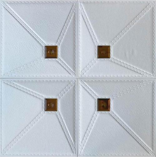 Faux Leather Tile - #DCT LRT86 - White & Cognac Mirror