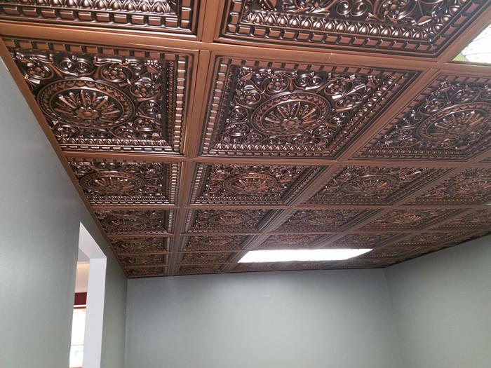 Da Vinci Faux Tin Ceiling Tile Drop In 24x24 215 - Antique Copper